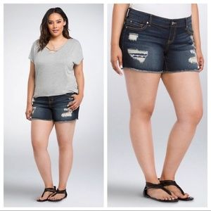Torrid Distressed American Flag Shorts